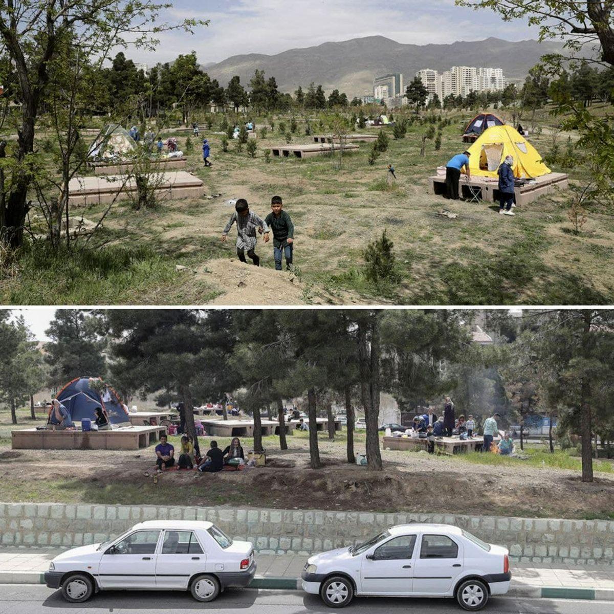 جمعیت در روز طبیعت در پارک چیتگر +عکس