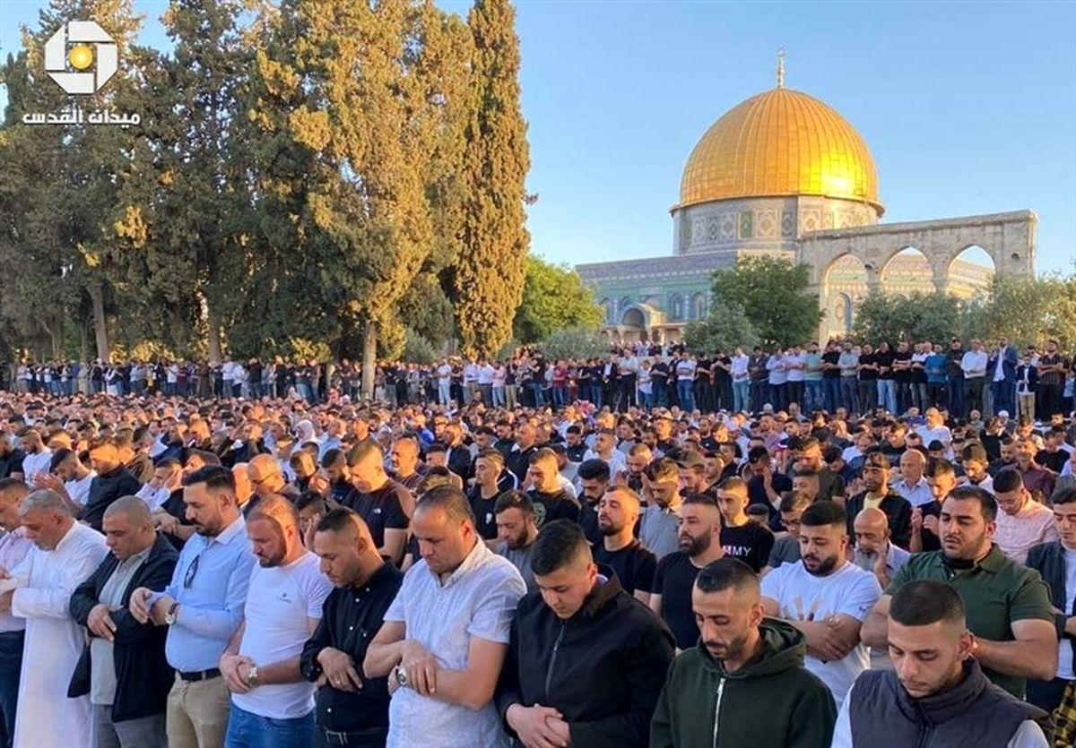 تصاویر رهبران حماس در مسجد الاقصی