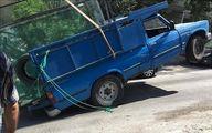 حادثه عجیب برای یک وانت نیسان +عکس