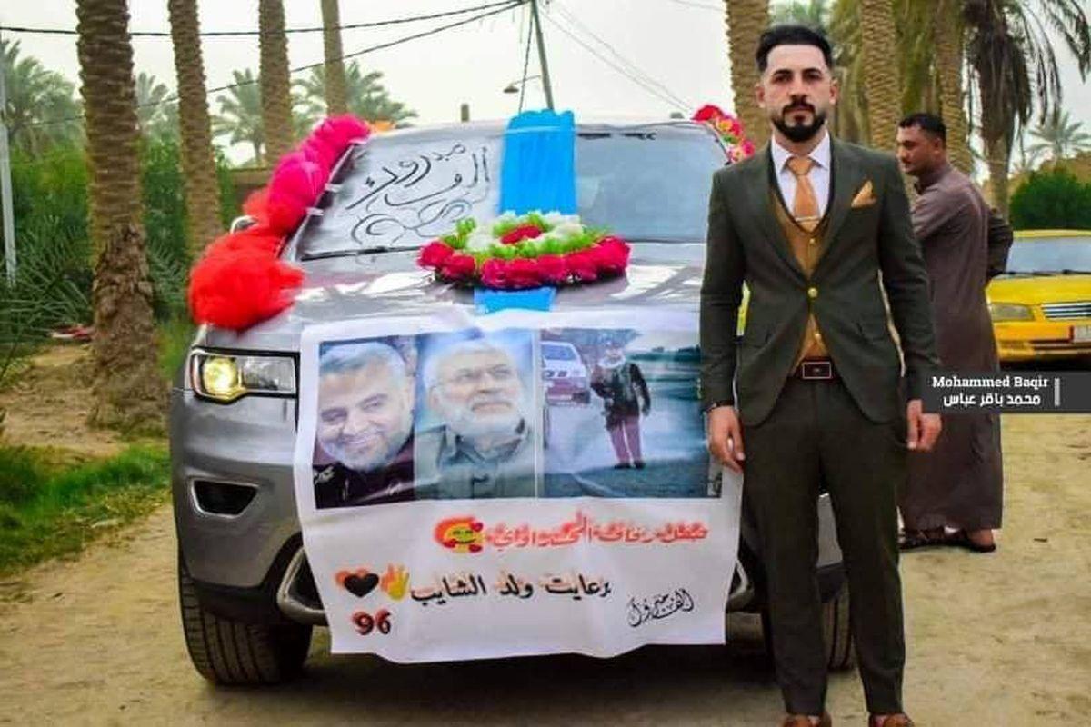 تزیین متفاوت ماشین عروس در عراق +عکس