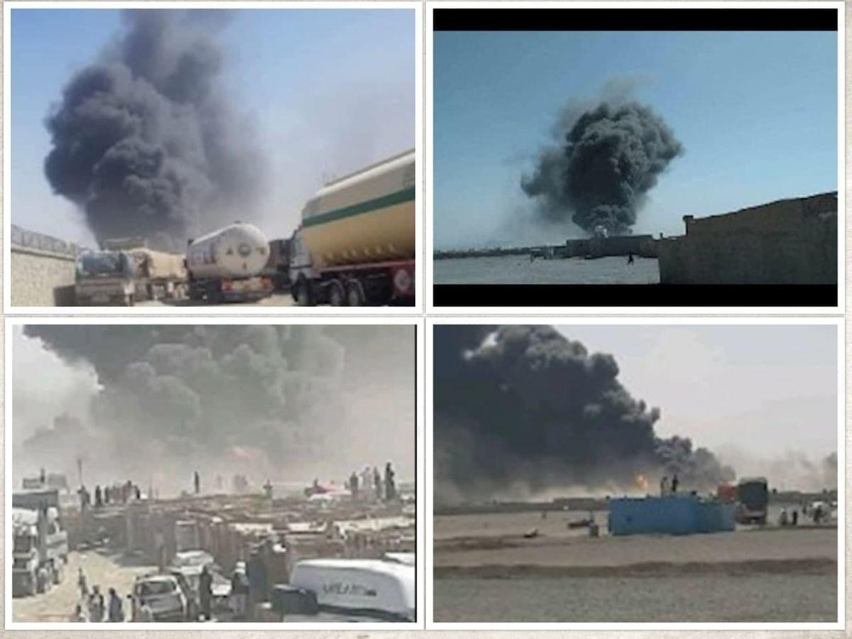 آتش سوزی در گمرک مرزی افغانستان با ایران +تصاویر