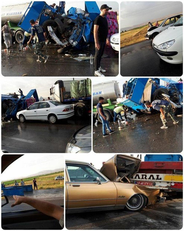 نخستین تصاویر از تصادف زنجیره ای کرج-قزوین که ۵۰ خودرو به هم خوردند