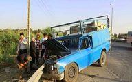 تصادف نیسان و اتوبوس در اتوبان قم