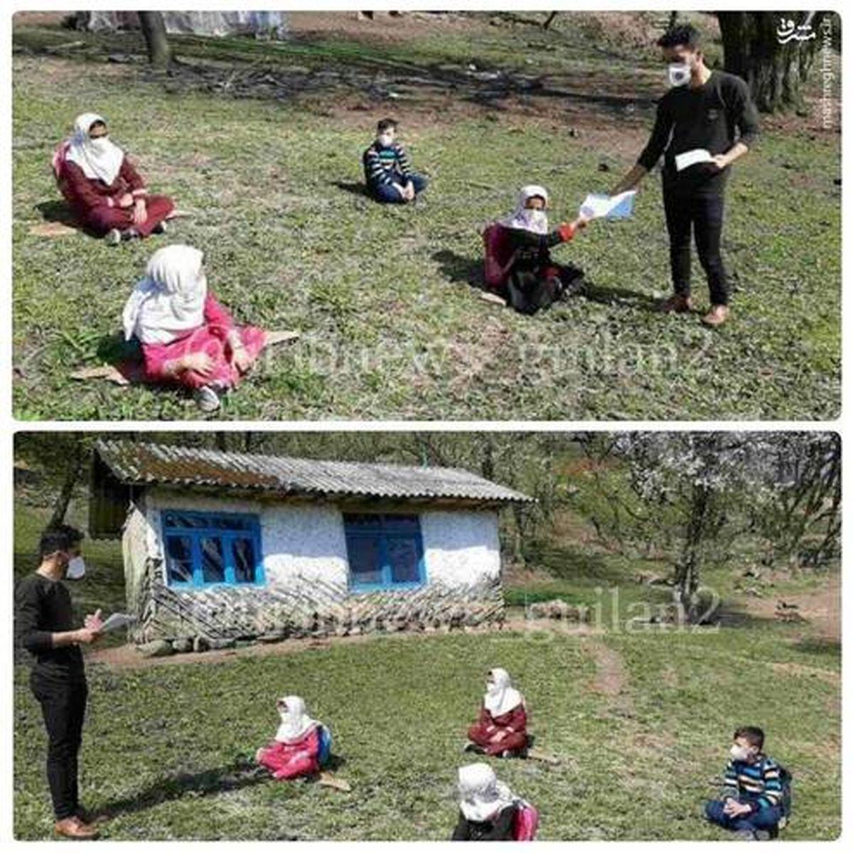 برگزاری کلاس درس در دل طبیعت تالش +عکس