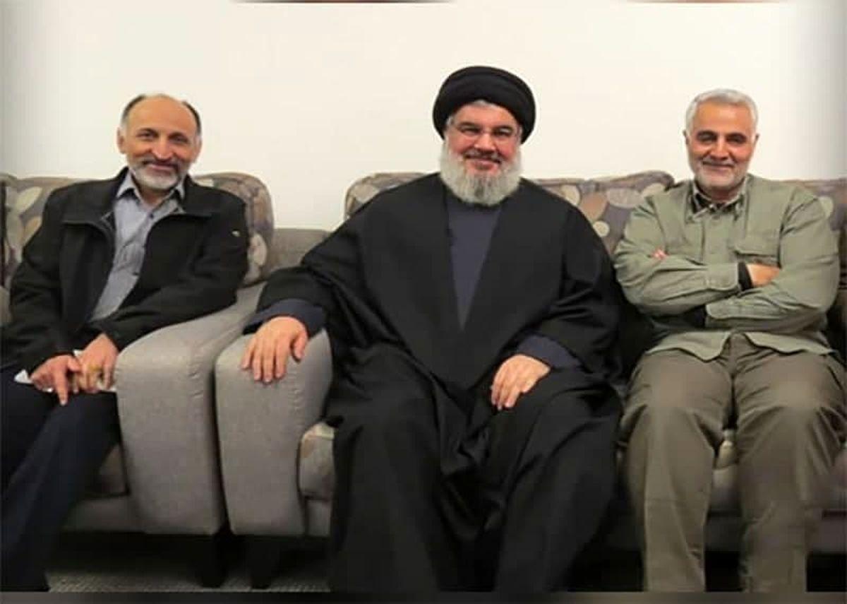 سیدحسن نصرالله در کنار شهیدان حاج قاسم و حجازی +عکس
