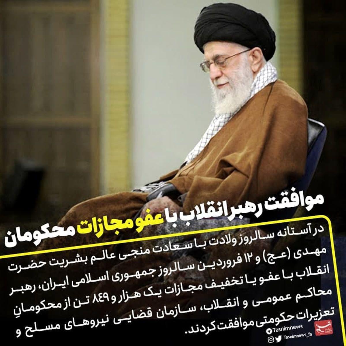 موافقت رهبری با عفو یا تخفیف مجازات تعدادی از محکومان