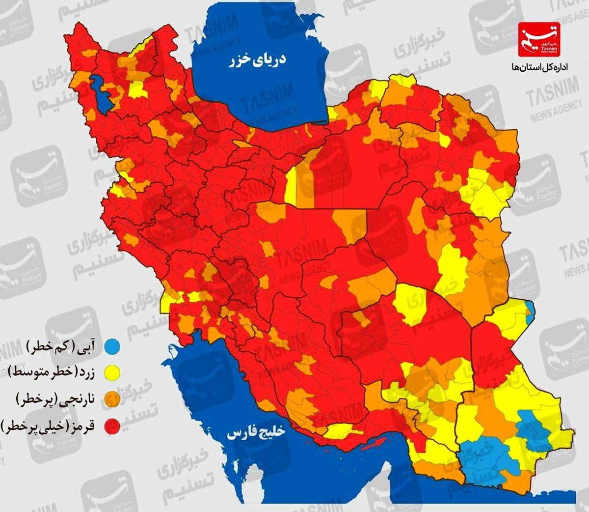 آخرین اخبار کرونا در ایران/تهران به سمت وضعیت سیاه کرونایی+ نقشه