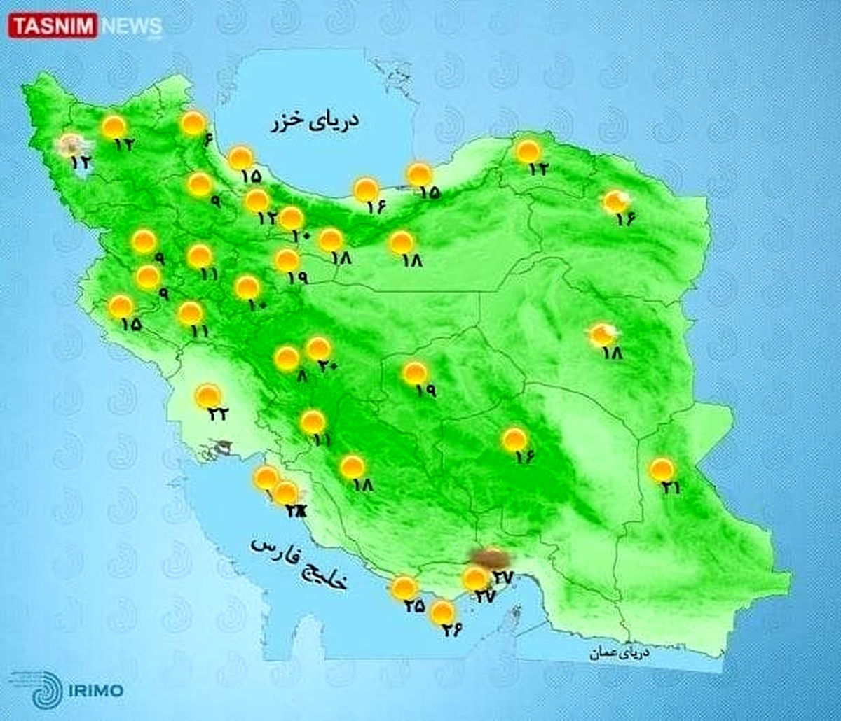 رگبار و وزش باد شدید موقت در ۶ استان