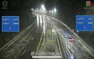 رگبار سیل آسا باران ، دقایقی قبل آزادراه تهران - شمال +عکس