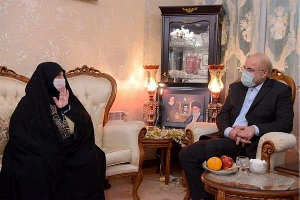 دیدار رئیس مجلس با خانواده شهید اسکندری +عکس