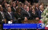 حرکت یواشکی بوش در مراسم خاکسپاری مککین +عکس
