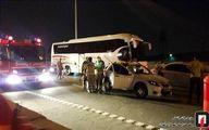 تصادف مرگبار «کوئیک» با بلوک بتونی بزرگراه کرج +تصاویر