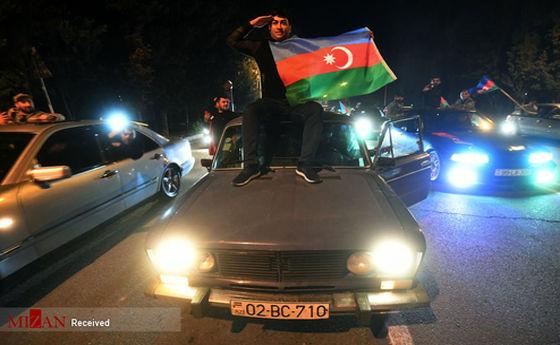تصاویر: شادی آذربایجانیها پس از توافق صلح قره باغ