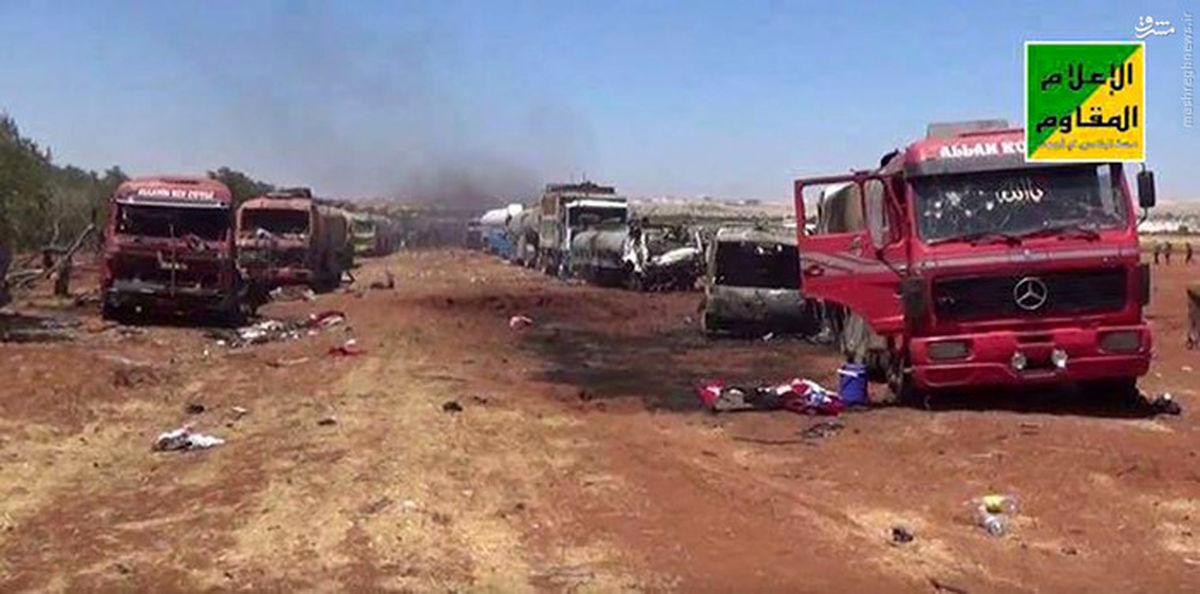 تصاویر: نابودکردن تانکرهای نفت داعش توسط هواپیماهای روسیه