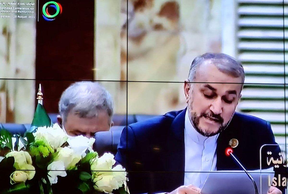 هم اکنون؛ سخنرانی وزیر خارجه ایران در نشست بغداد +عکس