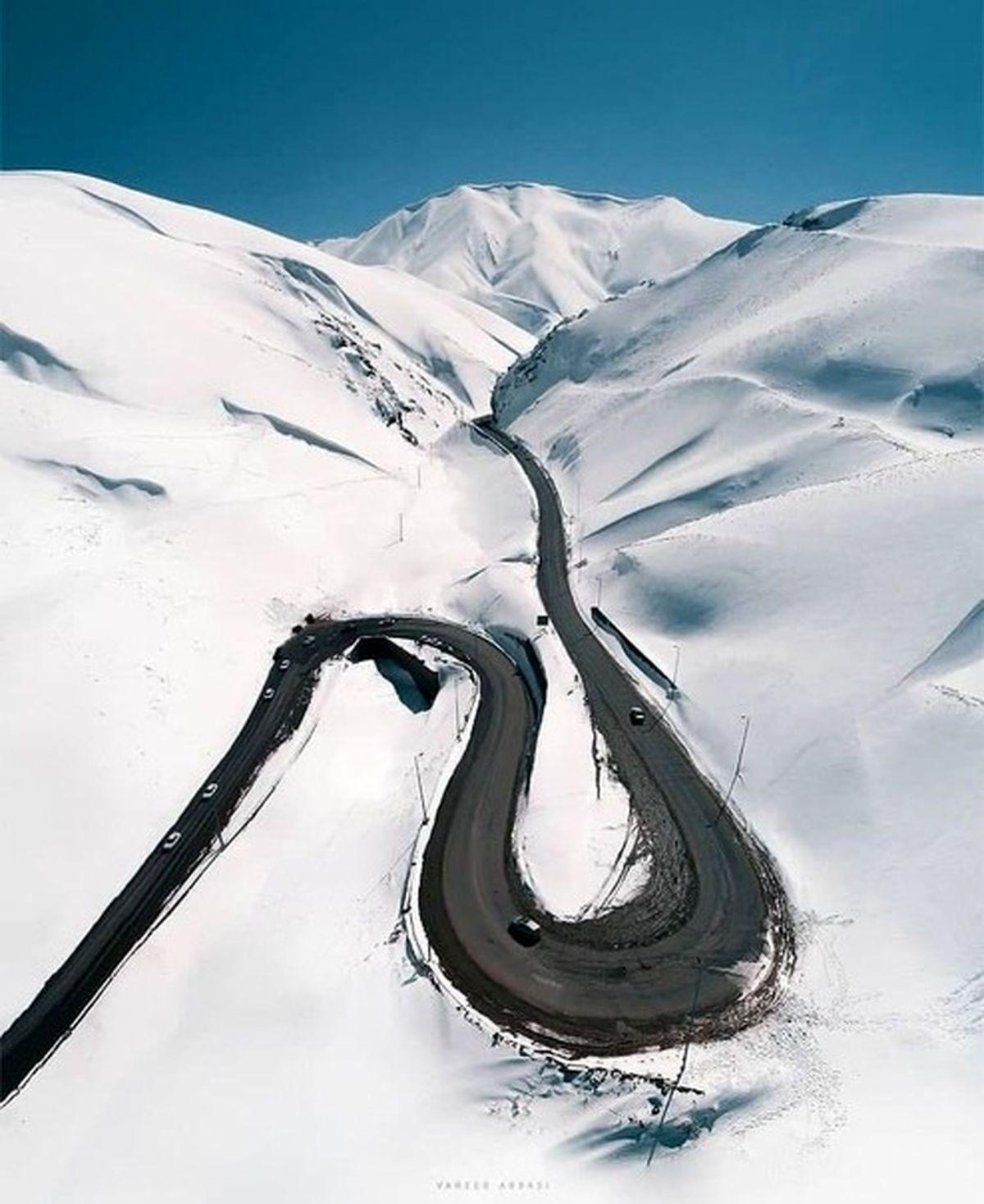 جاده چالوس در یک روز برفی +عکس