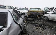 تصادف زنجیرهای ۲۲ خودرو در اتوبان قم - تهران