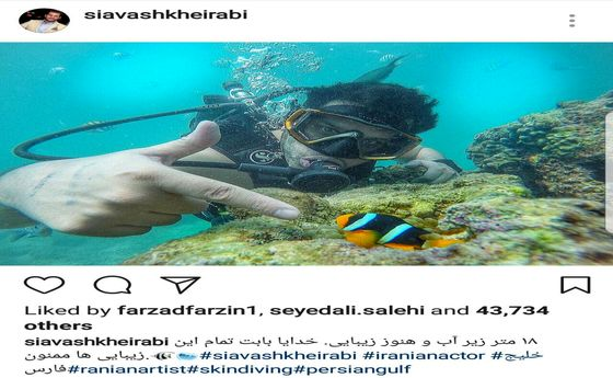 غواصی آقای بازیگر در آبهای خلیج فارس +عکس