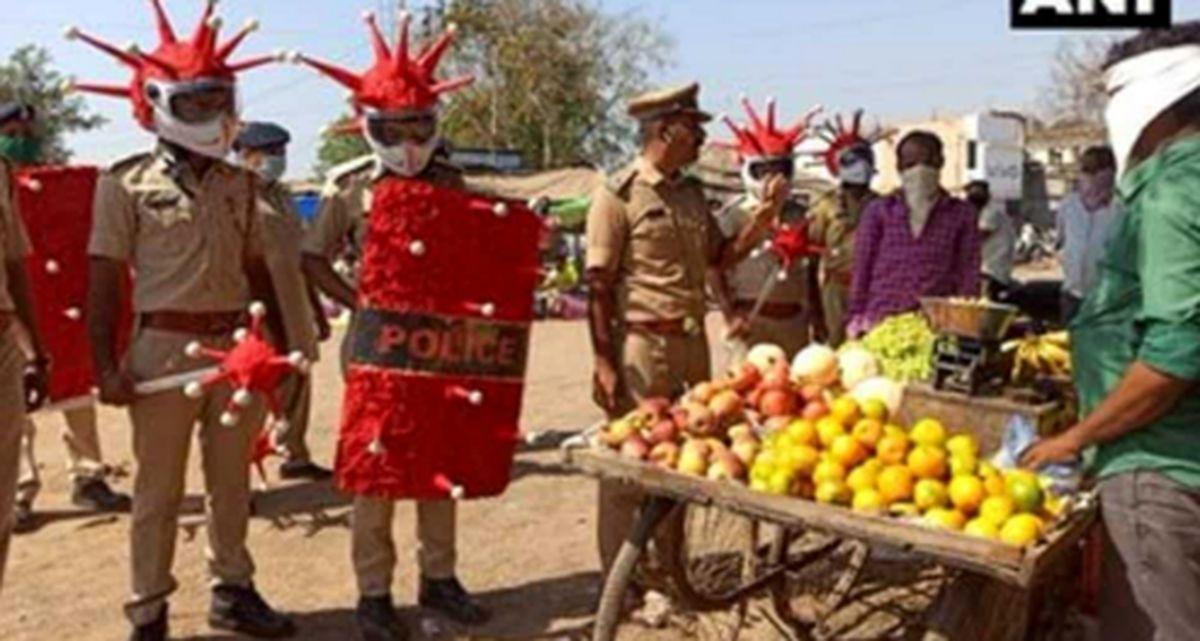 ابتکار جالب پلیس هند برای هشدار کرونایی به شهروندان! +فیلم