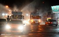 تصاویر: ضد عفونی معابر و خیابان های اهواز توسط آتش نشانان