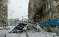 سقوط داربست در خیابان امام حسین(ع) +عکس